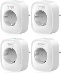 Enchufe Inteligente 4 Pack, Mini Enchufe Wifi Compatible con Alexa & Google Home, Enchufe con Monitor de Energía para Controlar Dispositivos Remoto por APP, Modelo SP1-4, WiFi 2.4G
